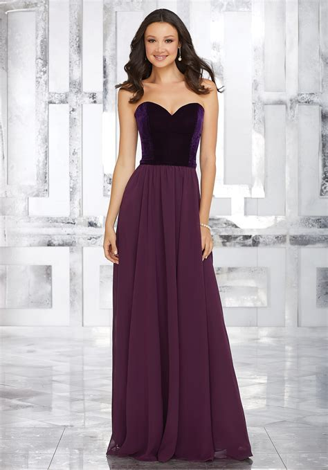 And Bridesmaid Dresses by Stretch Velvet And Chiffon Bridesmaids Dress With