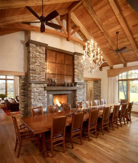 dining room fireplaces love fire table long tables house