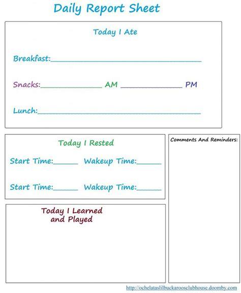 Preschool Daily Report Form