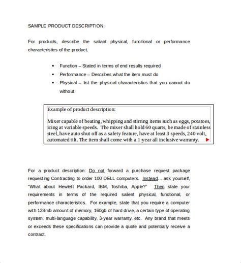 8 Product Description Templates Sles Exles Format Sle Templates Product Description Template