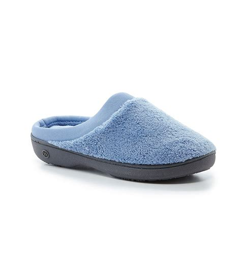 Isotoner Pillow by Isotoner Microterry Pillow Step Satin Cuff Clog Slippers