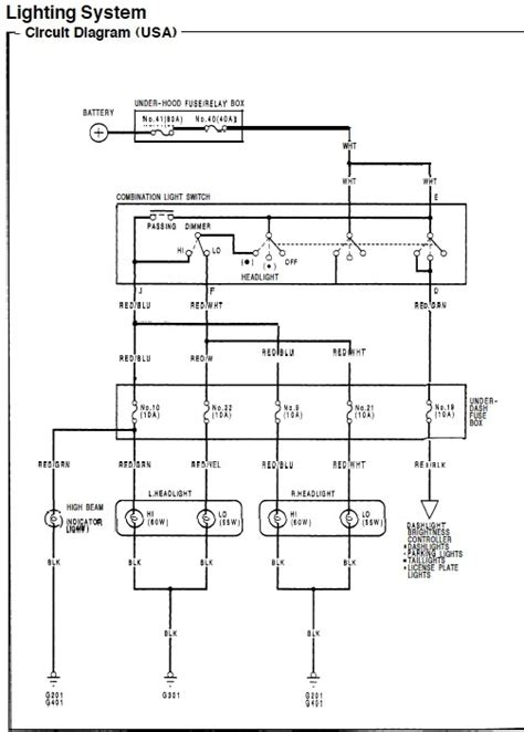 2000 honda civic headlight wiring diagram wiring diagram