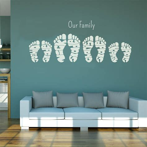 wall art personalised footprint wall art stickers by name art