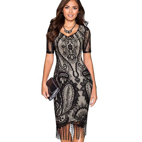 vintage pattern tassel dress women summer vintage elagant ladylike fringe tassel