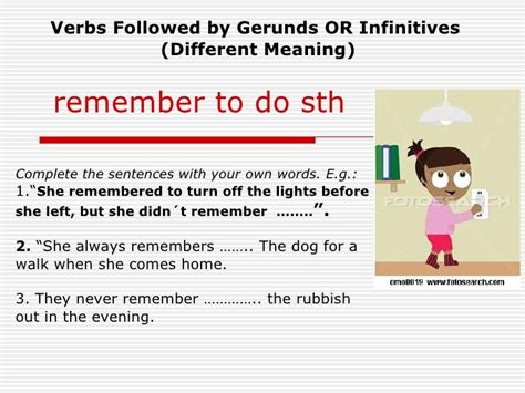gerund or infinitive do to do doing page 3 of 4 remember forgetstop try gerundsinfinitives