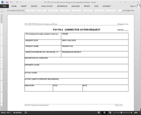 Corrective Action Request Form Template fsms corrective request template