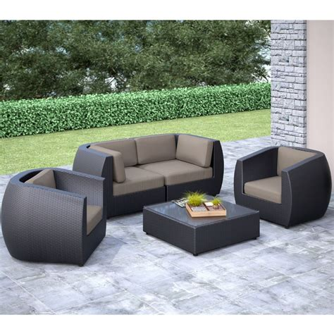 Curved Patio Sofa Corliving Seattle Curved 5 Pc Sofa And Chair Patio Set The Home Depot Canada