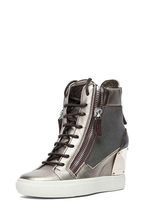giuseppe zanotti sneaker wedge giuseppe zanotti canvas leather wedge sneakers in