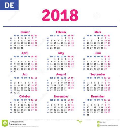 Germany Calendrier 2018 German Calendar 2018 Stock Vector Illustration Of Diary