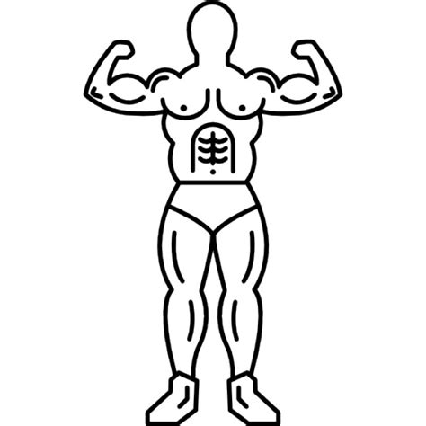 Outline Of A Bodybuilder by Muscular Outline Of A Bodybuilder Flexing Icons Free