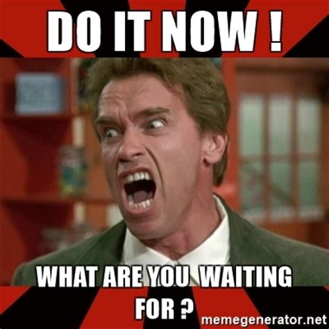 What Now Meme - do it now what are you waiting for arnold