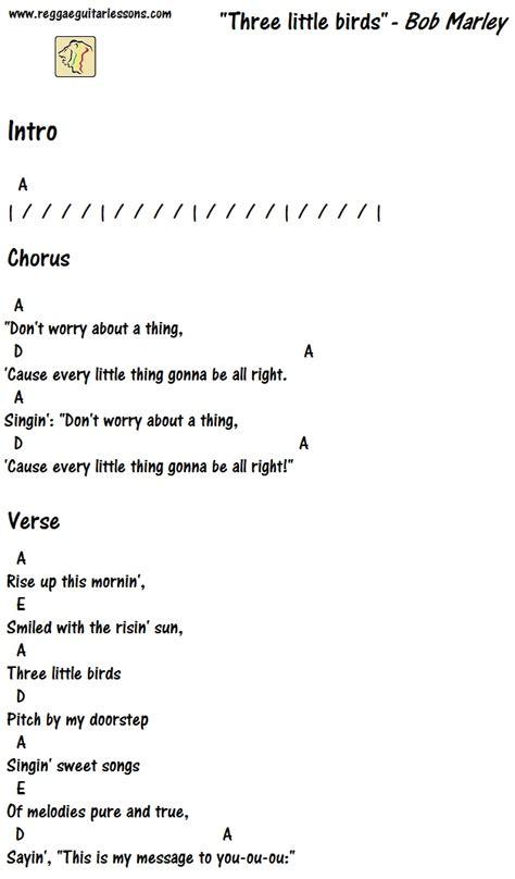 pattern up lyrics three little birds chords guitar chord charts