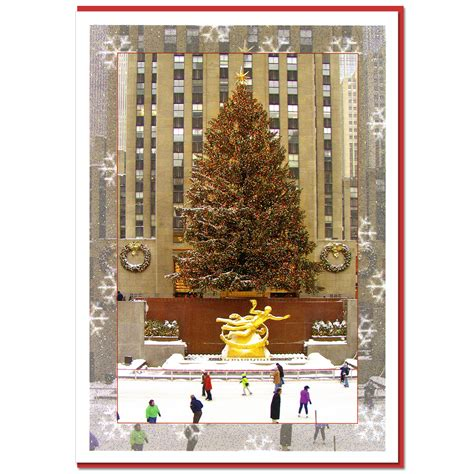 rockefeller center skating rink ny christmas boxed cards
