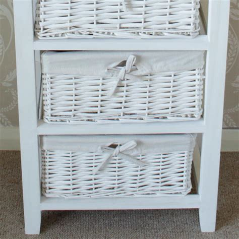 white wooden 5 drawer wicker basket unit melody maison 174