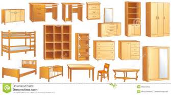 Bookcase Closet Wooden Furniture Set Vector Illustration Stock Photography