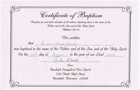 Baptism Certificate Template baptism certificate templates for word aspects of