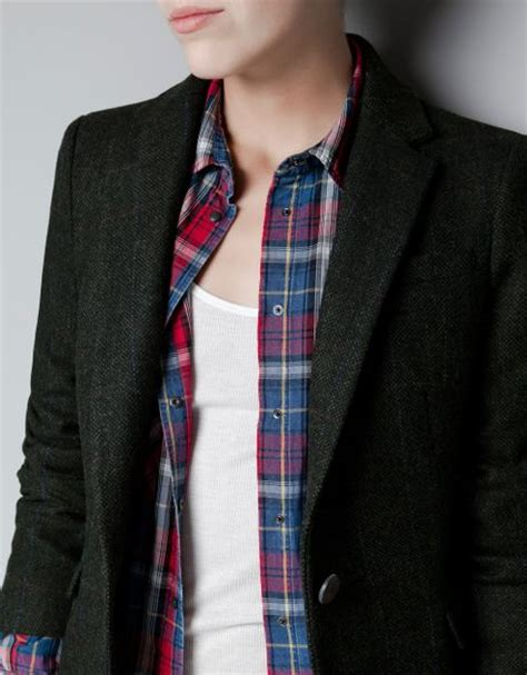 zara with checked patches in zara checked blazer with patches in black khaki lyst