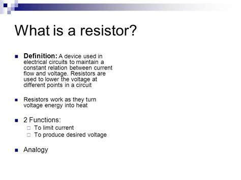 function of resistor in electrical circuit chapter 5 resistors ppt