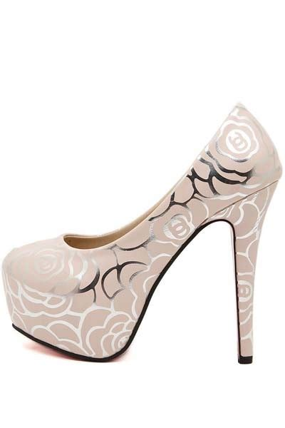 flower pattern heels light pink faux leather flower pattern platform high heels