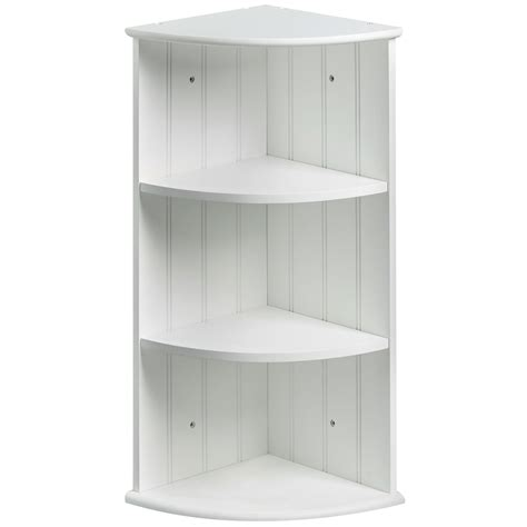 vonhaus colonial white two shelf bathroom corner cabinet