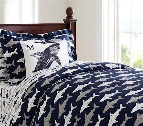 shark bedding preppy blue and white shark duvet cover