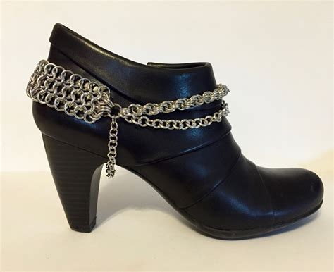 boot chains pair of chainmaille boot chains boot bracelet boot