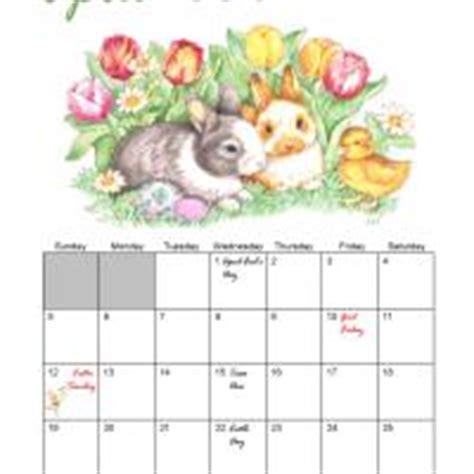 Easter 2013 Calendar April 2009 Easter Bunny Monthly Calendar