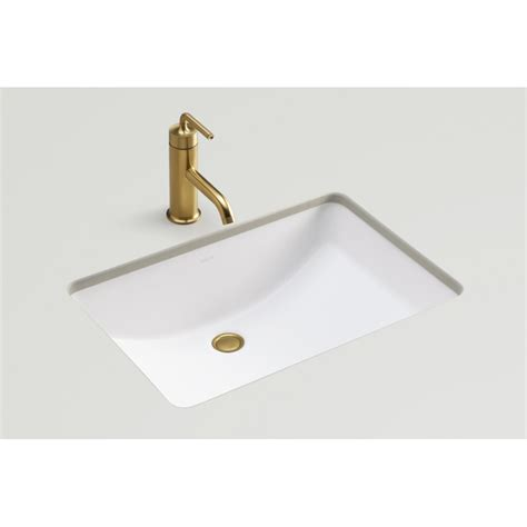 undermount bathroom sink lowes shop kohler ladena honed white undermount rectangular