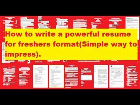 how to write a resume youtube