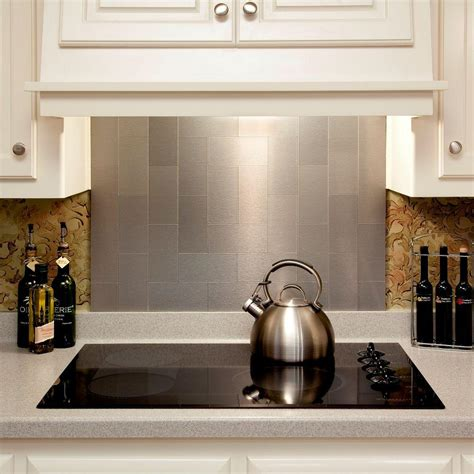 aspect long grain 3 in x 6 in metal decorative tile backsplash in brushed stainless 8 pack