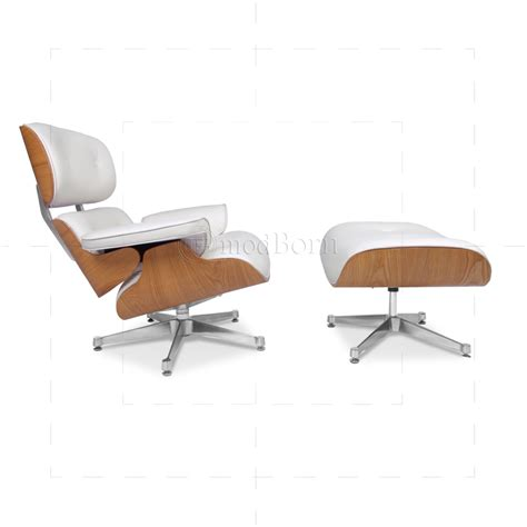 eames style lounge chair and ottoman white leather - Eames Lounge Chair White Leather
