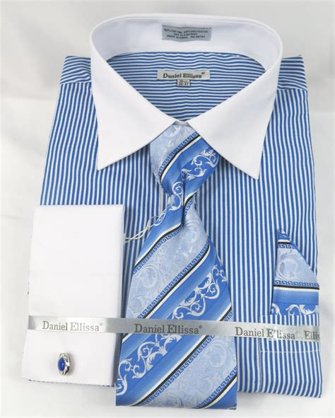 pattern french cuff shirts daniel ellissa ds3775 blue men s french cuff dress shirt