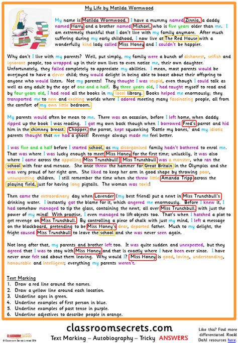 exle of biography text text marking an autobiography model text classroom secrets
