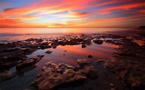 nice ocean rocks orange sky wallpapers nice ocean rocks