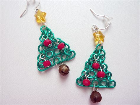 items similar to wire christmas tree earrings with jingle