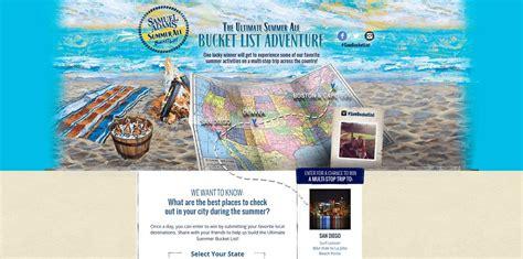 Sweepstakes 2014 List - samuel adams ultimate summer ale bucket list adventure sweepstakes