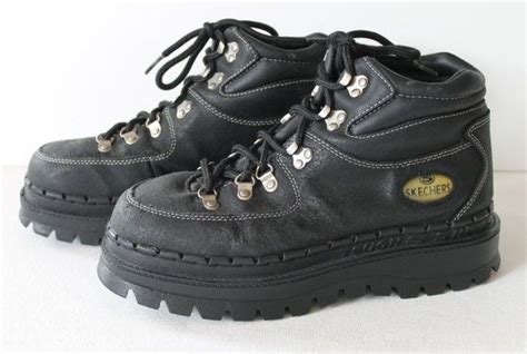 90s Skechers by 90s Platform Skechers Black Leather Hiking Boots Club