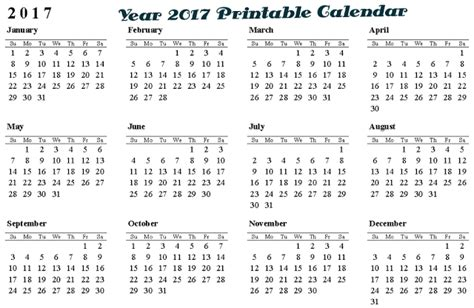 printable calendar year 2017 full year 2017 calendar printable collection yearly calendars