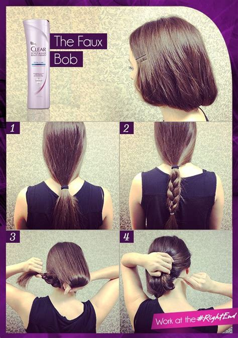 how to fix medium bob hair how to make long hair short faux bob hair tutorials