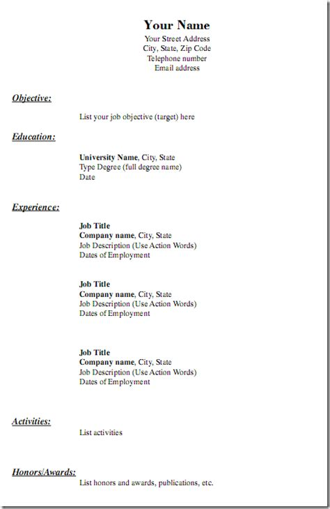 plain resume format free printable blank resume forms http www