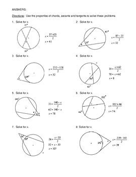 geometry unit 10 circle angles form by chords secants