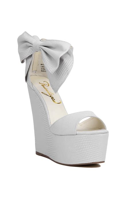 Wedges F 146 White lyst privileged privileged by j c dossier ankle bow white platform wedges in white