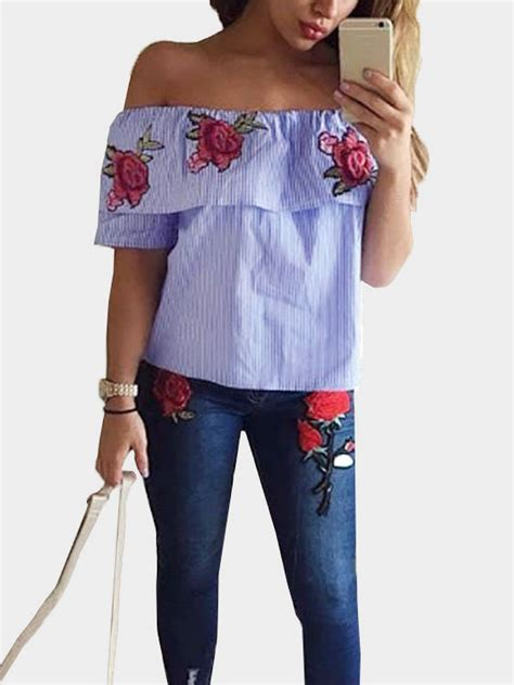 embroidered lobster stripe ankle sock simple accessories and blue the shoulder random floral embroidered stripe top
