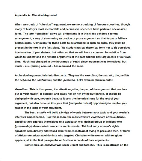 Argumentative Essay Model by Classical Model Of Argument Essay Exles Essay For You