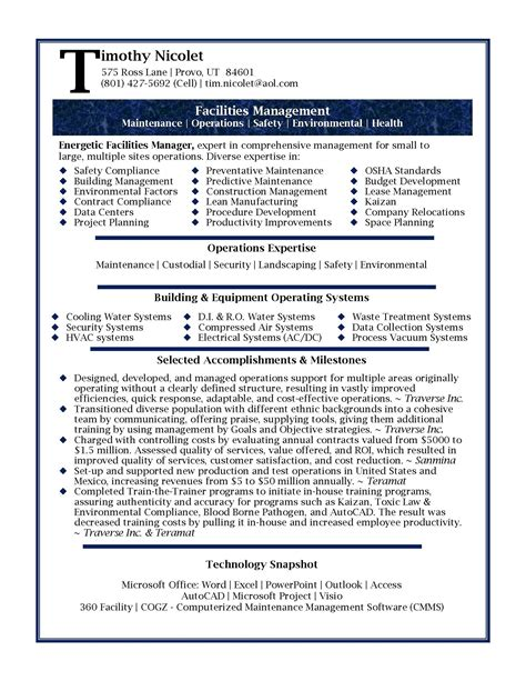 resume format for managers resume sles professional facilities manager resume