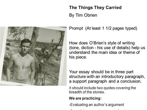 theme essay for the things they carried from literature to life ppt download