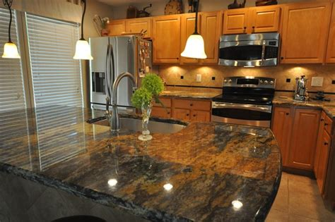 Houzz Granite Countertops by Purple Dunas Granite Countertop With Durango Tile Backsplash Traditional Kitchen