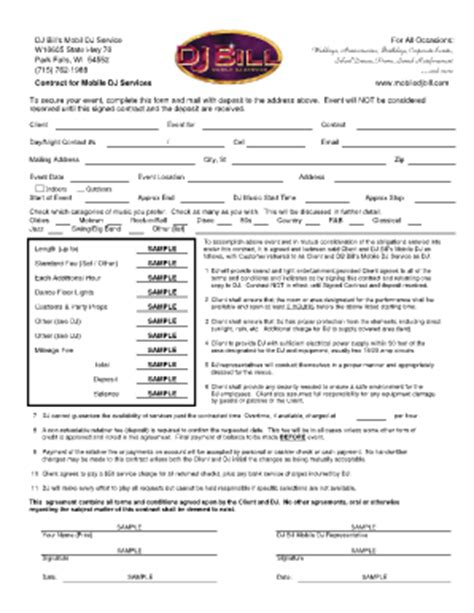 dj contracts for zchool functions fill online printable