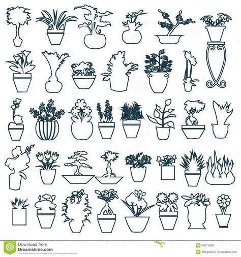 Cute Flower Pots by Cute House Plants In Pots Hand Drawing Stock Vector