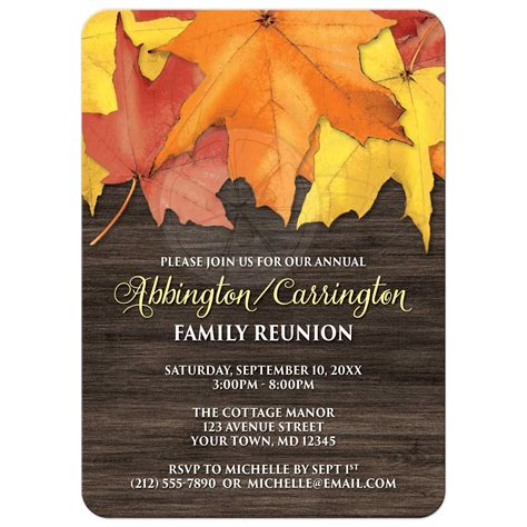 family invitations family reunion invitations rustic autumn leaves and wood